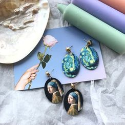Riceo - Wooden Painting Print Drop Earring