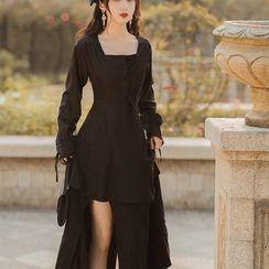 Glaypio - 长袖侧系带-开衩A字连衣中裙