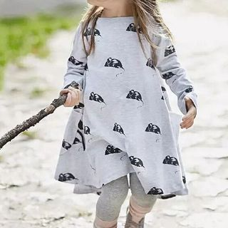 Kissy Kiddos - Kids Long-Sleeve Mouse Pattern Mini A-Line Dress