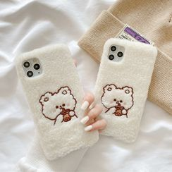 CeLLEAGUE - Embroidered Bear Fluffy Phone Case - iPhone, Huawei, Honor