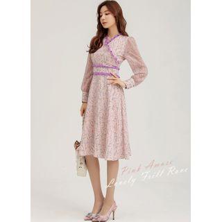 Styleonme - Frill-Trim Chiffon-Sleeve Midi Floral Dress