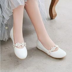 Shoes Galore - Flower Strap Hidden-Wedge Flats
