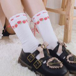 Sayaka - 水果印花後蝴蝶結襪子