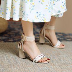 Kireina - Ankle Strap Block Heel Sandals