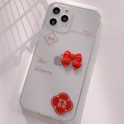 BlingStar - Bow Transparent Phone Case - iPhone 12 Pro Max / 12 Pro / 12 / 12 mini / 11 Pro Max / 11 Pro / 11 / SE / XS Max / XS / XR / X / SE 2 / 8 / 8 Plus / 7 / 7 Plus