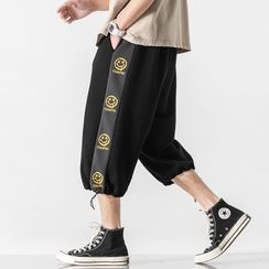 SuperLittle - High-Waist Smiley Face Print Cropped Sweatpants