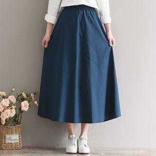 Sulis - Set: Mandarin Collar Shirt + High Waist Midi A-Line Skirt