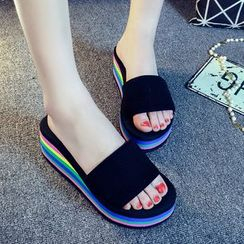 Meguro - Color Block Wedged Slide Sandals