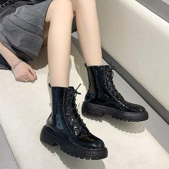 Terute - Platform Lace-Up Short Boots