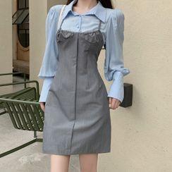 Magma - Long-Sleeve Mock Two-Piece Mini A-Line Dress