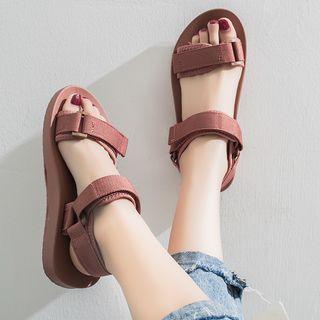 Yuki Yoru - 布藝魔術貼厚底涼鞋
