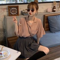 Shopherd - Elbow-Sleeve Shirt / Pleated Skirt