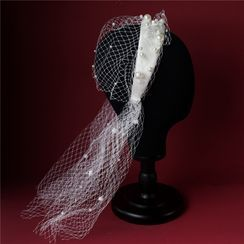 First Impression - Wedding Faux Pearl Mesh Headband / Earring / Gloves / Set