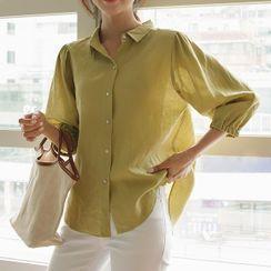 JUSTONE(ジャストワン) - Balloon 3/4-Sleeve Linen Shirt