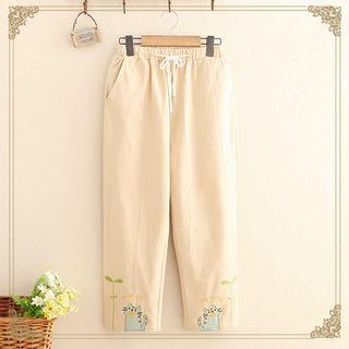 Kawaii Fairyland - Cat Embroidery Straight-Fit Pants
