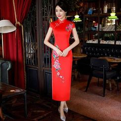 Dororise - Flower Embroidered Cap-Sleeve Qipao