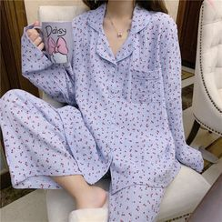 Tanee - Pajama Set: Cherry Print Long-Sleeve Loose-Fit Top + Pants