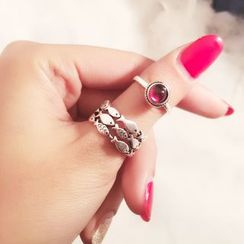 Jiniro - 925 Sterling Silver Fish / Bead Ring / Set
