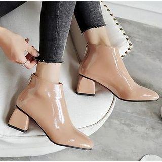 Freesia - 漆皮粗跟及踝靴