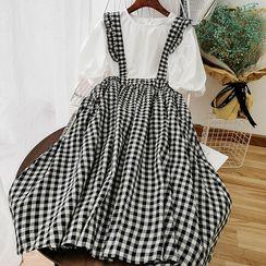 Miss Puff - 套裝: 泡泡袖襯衫 + A字背帶中裙