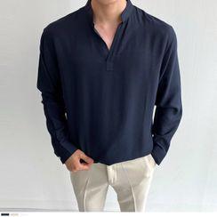 Seoul Homme - Open-Placket Textured Shirt