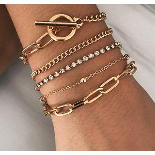 Gemsha - Set of 5: Alloy / Rhinestone Bracelets (Assorted Designs)
