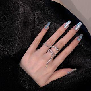 Poppin - Rhinestone Snake Double Finger Open Ring