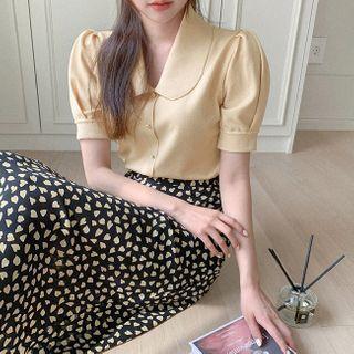 Cherryville - Round-Collar Button-Trim Knit Top