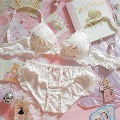 Prinsis - Set: Unicorn Print Ruffle Trim Bra + Panties
