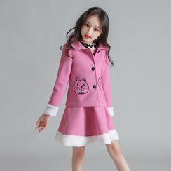Doveark - 小童套装: 猫刺绣外套 + A字裙