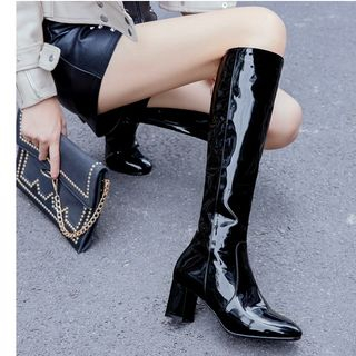 Freesia - Pointed Block Heel Knee-High Boots