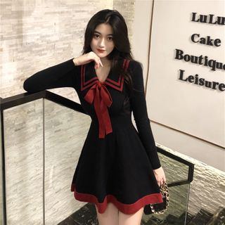 Melina - Long-Sleeve Collar Mini A-Line Knit Dress