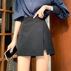 DEEPNY - Inset Shorts Deep-Slit Wrap Miniskirt