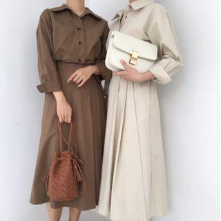Butterfly Dorm - Long-Sleeve Plain Shirt Dress