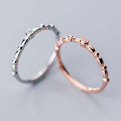 A'ROCH - 925 Sterling Silver Rhinestone Open Ring