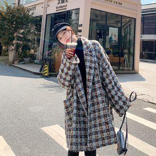 Estacion - Long-Sleeve Tweed Trench Coat