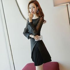 NIAT - Lace Panel Long-Sleeve A-Line Dress