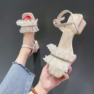 Nikao - 仿珍珠踝帶粗跟涼鞋
