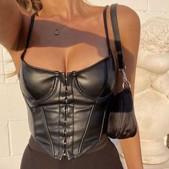 BrickBlack - Faux Leather Bustier Top