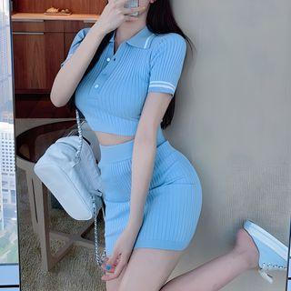Windflower - 套装: 短袖针织马球衫 + 迷你修身裙