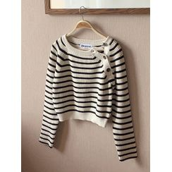 maybe-baby - Side-Placket Stripe Cropped Sweater