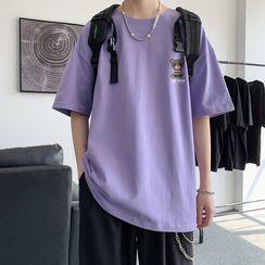 YERGO - Elbow-Sleeve Bear Print T-Shirt