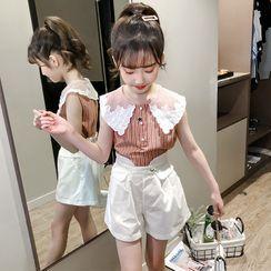 Qin Qin - Kids Set: Sleeveless Striped Shirt +Wide-Leg Shorts