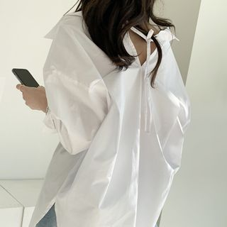 NANING9 - Tie-Back Plain Shirt