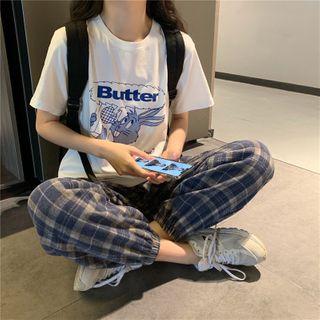 Whoosh - 印花短袖T裇 / 格子直筒牛仔裤