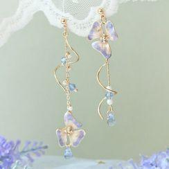 True Glam - 925 Sterling Silver Flower Dangle Earring