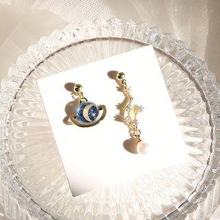 Kokyu - 仿珍珠水钻星星月亮耳坠