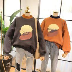 Blaklukka - Turtle-Neck Mock Two-Piece Printed Oversize Sweatshirt