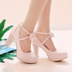 Megan(ミーガン) - Bow Ankle Strap Chunky Heel Pumps