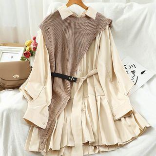 Miss Puff - Set: Long-Sleeve Mini Shirtdress + Irregular Hem Knit Vest